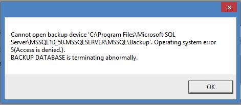 PrizmaNET EtapSoft Muhasebe programı SQL Server Operating System Error 5 hatasının çözümü
