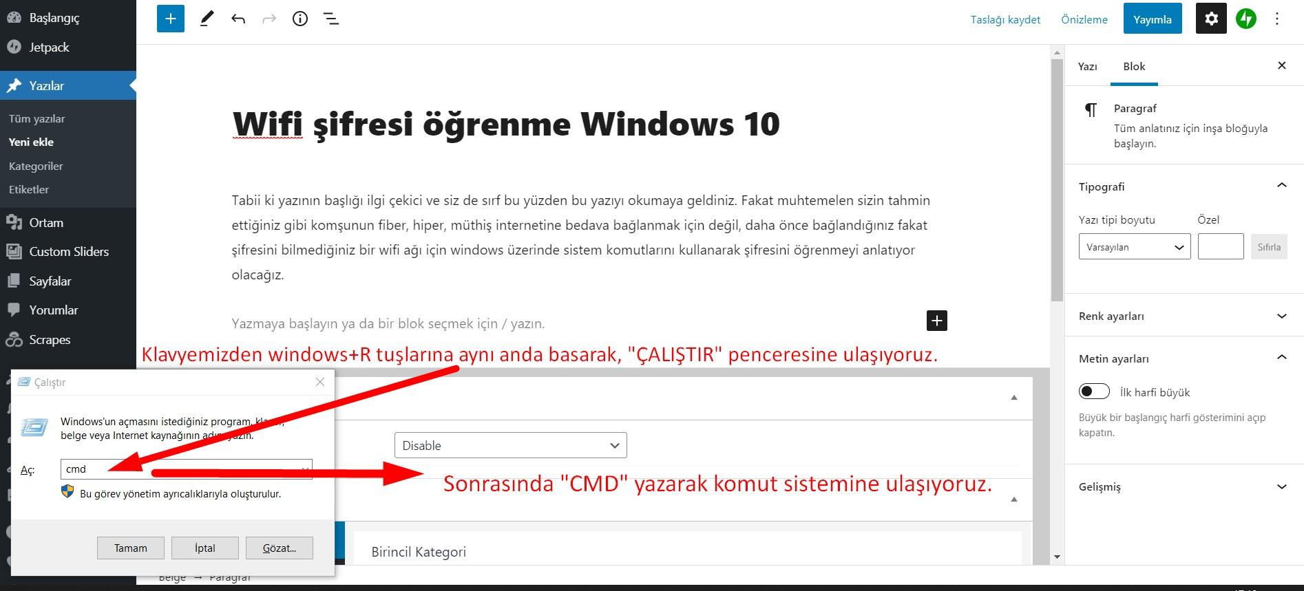 """Klavyeden windows + R tuşlarına basarak, """"ÇALIŞTIR"""" penceresini açıyoruz. Pencereye """"CMD"""" yazarak, komut sistemine geçiş yapıyoruz."""